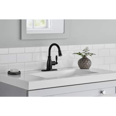 Mandouri Single-Handle Single Hole LED High-Arc Bathroom Faucet in Matte Black