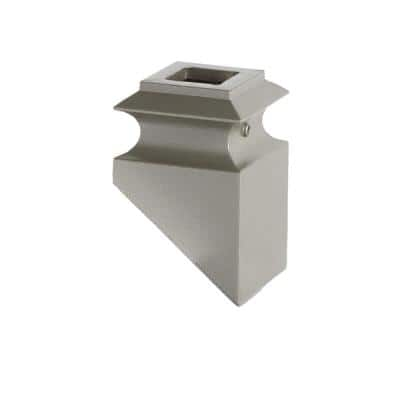 Ash Grey 34.3.2 Angled Base Shoes for 3/4 in. Square Mega 1.9 in. x 2.9 in. Iron Balusters for Stair Remodel