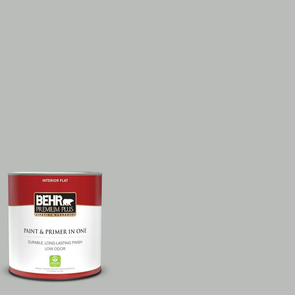 Behr Premium Plus 1 Qt T18 19 Quiet Time Flat Low Odor Interior Paint And Primer In One 105004 The Home Depot