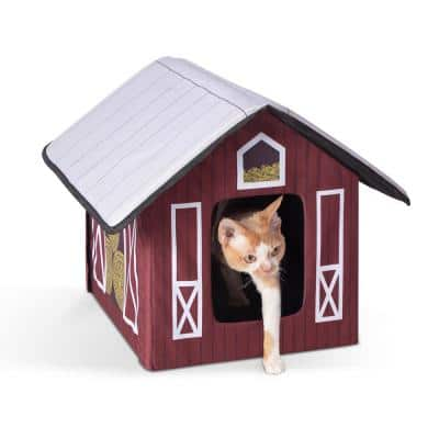 Outdoor Kitty House-Barn Style-18 in. x 22 in. x 17 in.