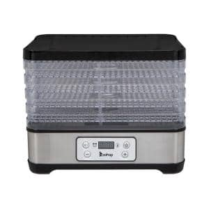5-Tray Black Food Dehydrator with Digital Control Panel