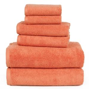 6-Piece Solid Brick 100% Cotton Bath Towel Set
