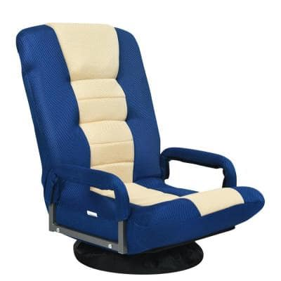 21.5 in. Blue Metal Frame 360-Degree Swivel Gaming Folding Chair with Adjustable Backrest