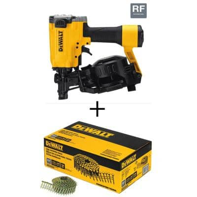 Pneumatic 15-Degree Coil Roofing Nailer w/Bonus 1-1/4 in. x 0.120 Gal. Galvanized Steel Coil Roofing Nails (7,200-Pack)