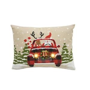 0.1 in. H x 18 in. W x 13 in. D Snowy Car Santa Light Up Christmas Pillow