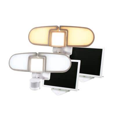 205 LED WhiteTriple Head Solar Motion Activated Outdoor Integrated LEDSecurityFloodLight (2-Pack)