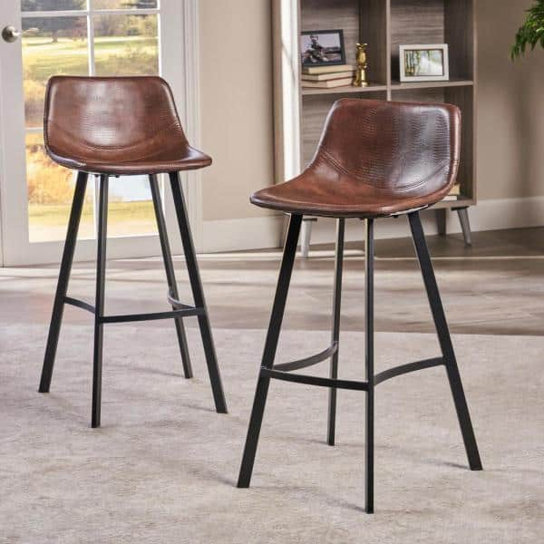 Noble House Dax 30 In Brown And Black Bar Stool Set Of 2 9204 The Home Depot