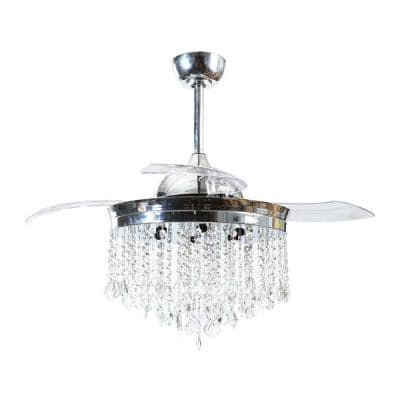 42 in. Retractable Chrome Crystal Ceiling Fan with Light Kit and Remote Control