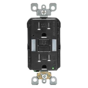 15 Amp Self-Test SmartlockPro Combo Duplex Guide Light and Tamper Resistant GFCI Outlet, Black