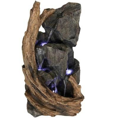 35 in. Mountainside Outdoor Water Cascading Fountain with LED Lights