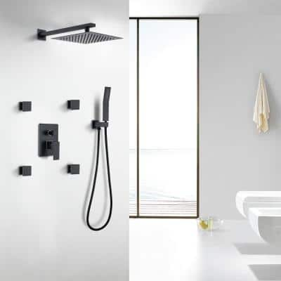 Waterfall Top Spray Wall Type Bathroom Shower System with Black 4 Side Spray Hot and Cold Body