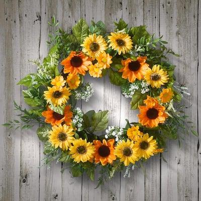 18 in. Artificial Sunflower Wreath
