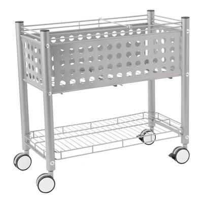 Steel Open Top File Cart in Matte Gray