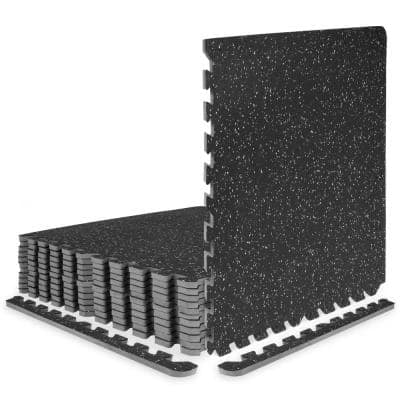 Rubber Top Exercise Puzzle Mat Grey 24 in. x 24 in. x 0.5 in. EVA Foam Interlocking Tiles (12-Pack (48 sq. ft.)