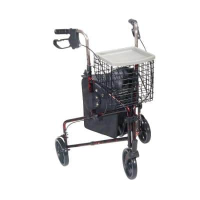 3-Wheel Rollator Rolling Walker with Basket Tray and Pouch, Flame Red