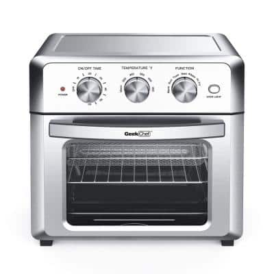 19 Qt. Silver Stainless Steel Air Fryer Toaster Oven with Roast, Bake, Broil, Reheat, Accessories & Recipes Included