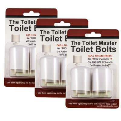 Tool-free Toilet Bolt and Cap System (3-Pack)