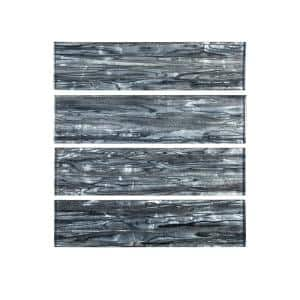Abalone Gray 3 in. x 12 in. Glossy Glass Wall Tile (1 sq. ft./Pack)