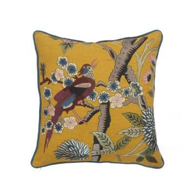 Scenic Yellow Floral Birds Soft Poly-Fill 20in. x 20 in. Throw Pillow