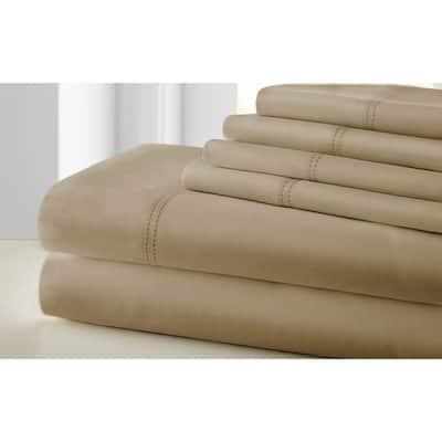 6-Piece Brown Tours Cotton King Size Sheet Set with Double Hem