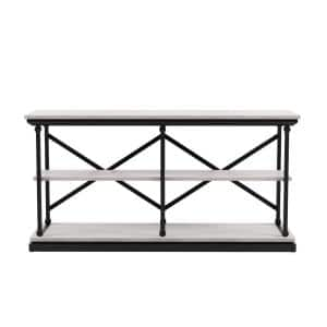 Blue River 59 in. Antique White and Black Rectangle Wooden Console Table