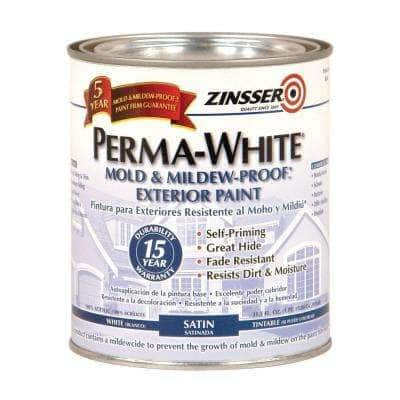 Perma-White 1 qt. Mold & Mildew-Proof White Satin Exterior Paint (6-Pack)