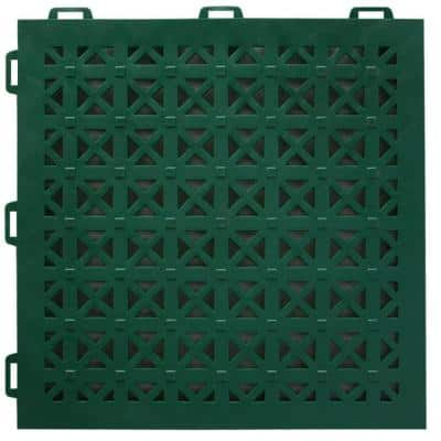 StayLock Perforated Green 12 in. x 12 in. x 0.56 in. PVC Plastic Interlocking Outdoor Floor Tile (Case of 26)