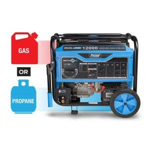 12,000-Watt/9,500-Watt Dual Fuel Gasoline/Propane Powered Electric/Recoil Start Portable Generator 457cc CARB Compliant