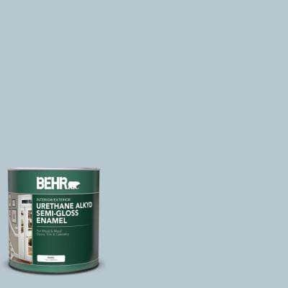 Behr 1 Qt 560e 3 Silver Strand Semi Gloss Enamel Urethane Alkyd Interior Exterior Paint 390004 The Home Depot