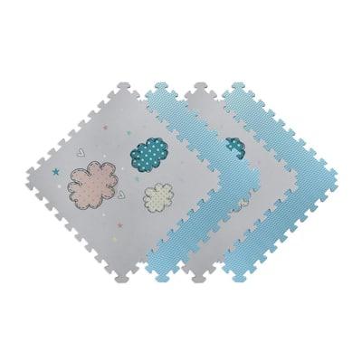 Reversible Clouds/Blue Children's Designer 24 in. x 24 in. x 0.47 in. Foam Mats (4-Pack)