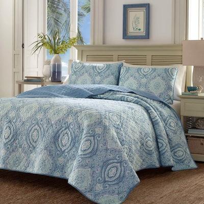 Turtle Cove 3-Piece Blue Paisley Cotton King Quilt Set
