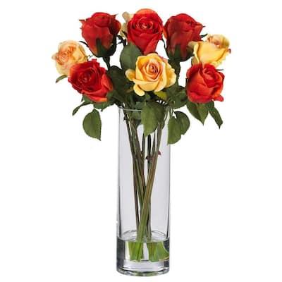 16 in. Rose Silk Flower Arrangement with Glass Vase