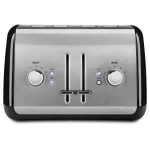 4-Slice Onyx Black Wide Slot Toaster with Crumb Tray