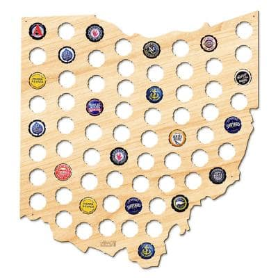 17 in. x 16 in. Large Ohio Beer Cap Map