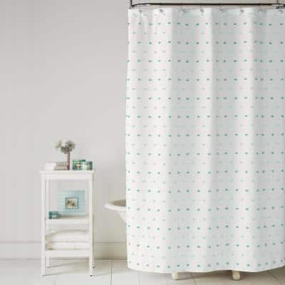 Colorful Dot 72 in. Aqua Shower Curtain