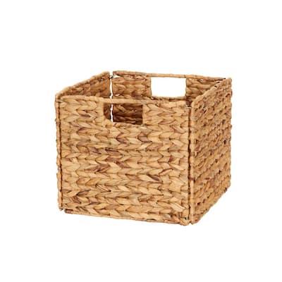 13 in. D x 11 in. H x 13 in. W Brown Wicker Cube Storage Bin