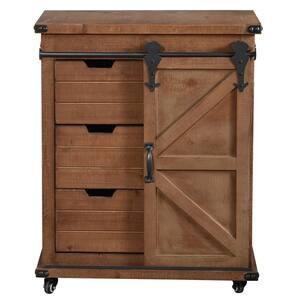 Graham 1-Z-frame Sliding Barn Door Natural Black Fir Wood Metal Cabinet