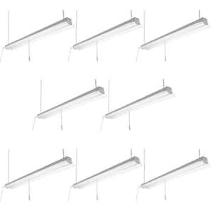 4 ft. 64- Watt Equivalent Integrated LED White Shop Light Linkable 3200 Lumens 4000K Bright White (8-Pack)