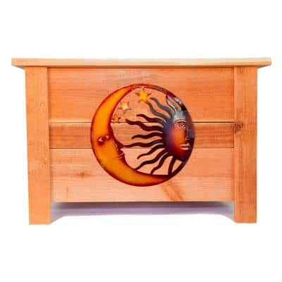 24 in. x 24 in. Redwood Planter with Metal Celestial Art