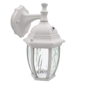1-Light White LED Outdoor Wall Lantern Sconce with Dusk to Dawn Sensor