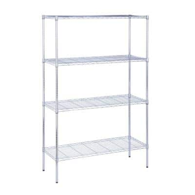Chrome 4-Tier Metal Wire Shelving Unit (18 in. W x 72 in. H x 48 in. D)