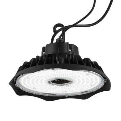 12 in. 200-Watt Equivalent Integrated LED Black High Bay Light Indoor/Outdoor UFO Light with 26000 Lumens 5000K