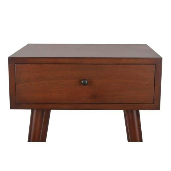 Decor Therapy Mid Century Walnut 1 Drawer End Table Fr6322 The Home Depot