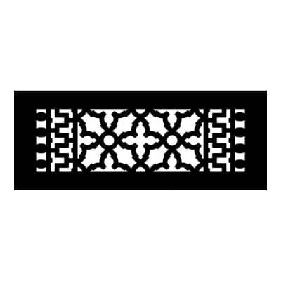 Scroll Series 12 in. x 4 in. Cast Iron Grille, Black without Mounting Holes