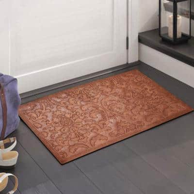 A1HC Brocade Dark Brown 24 in. x 36 in. Eco-Poly Scraper Mats with Anti-Slip Fabric Finish and Tire Crumb Backing