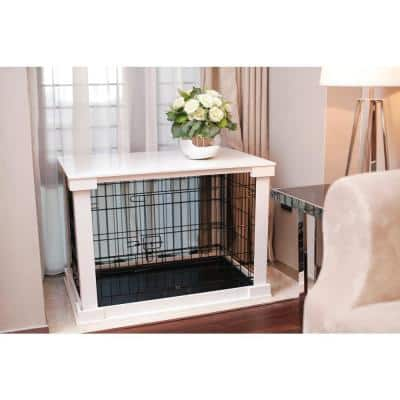 Dog Crate with White Cover - Medium