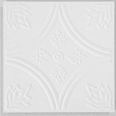 Circles 1 ft. x 1 ft. Clip Up or Glue Up Fiberboard Ceiling Tile in White (40 sq. ft./case)
