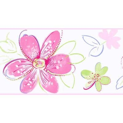 Pink, Green, Silver, Purple Floral Prepasted Wallpaper Border