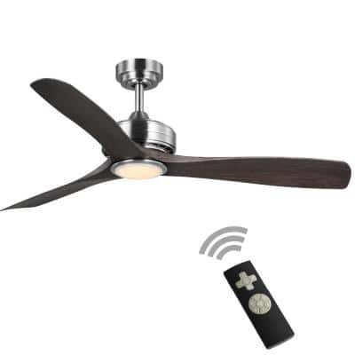 Bayshire 52 in. LED Indoor/Outdoor Brushed Nickel Ceiling Fan with Remote Control and White Color Changing Light Kit