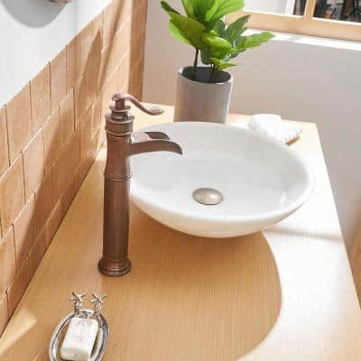 Single Hole Single-Handle Bathroom Faucet with Drain Kit Included in Antique Copper for Vessel Sinks (Valve Included)